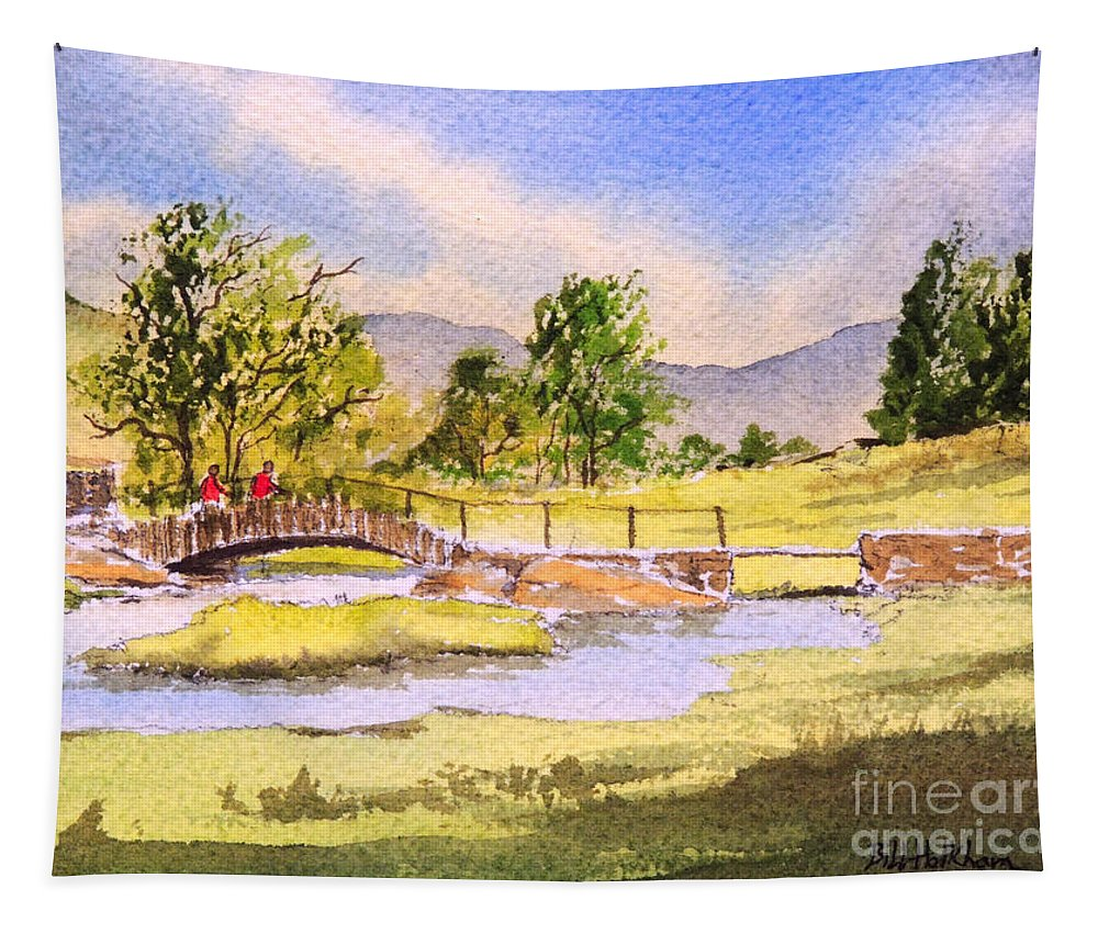 The Lake District Tapestry featuring the painting The Lake District - Slater Bridge by Bill Holkham