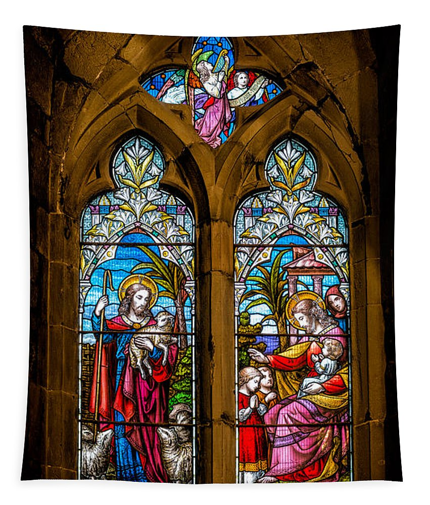 Stained Glass Tapestry featuring the photograph The Lambs by Adrian Evans