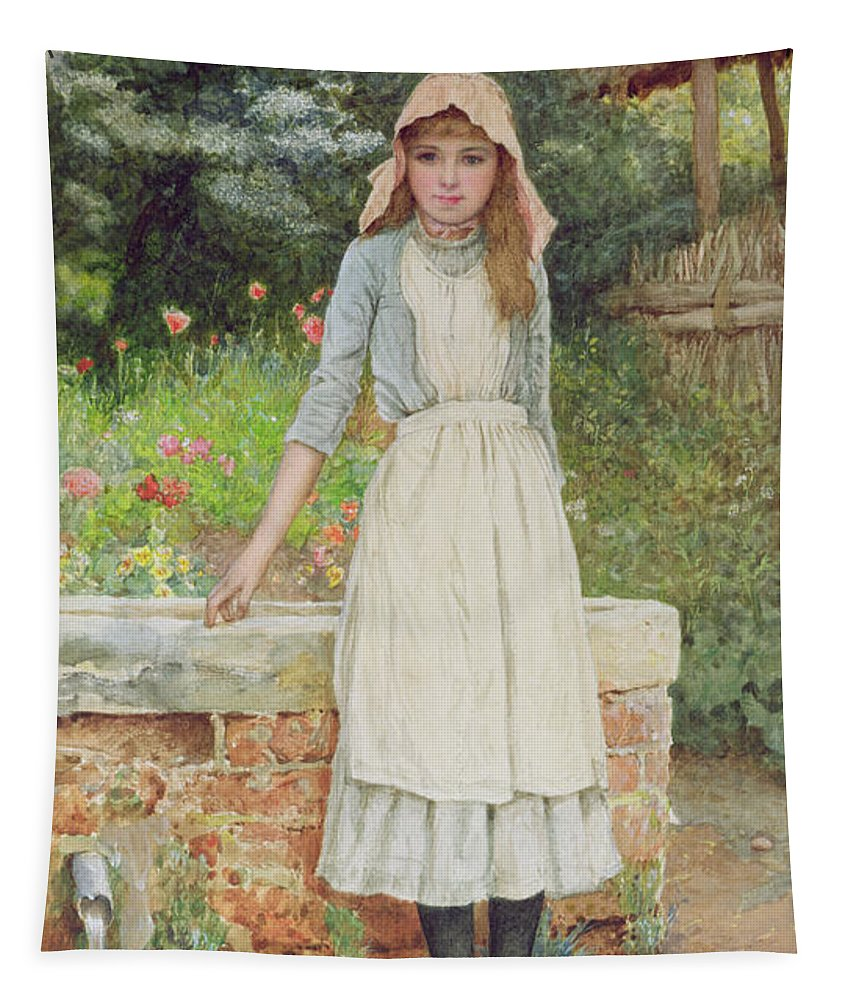 Female Tapestry featuring the painting The Last Chore by Edward Killingworth Johnson