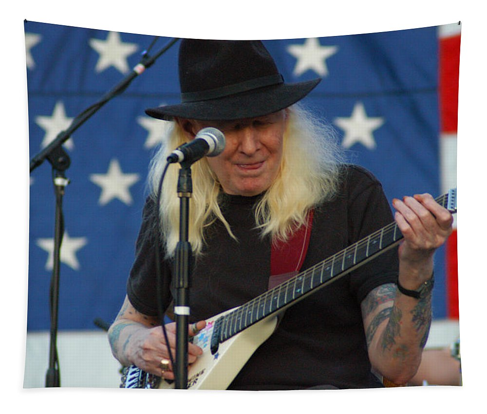 Johnny Winter Tapestry featuring the photograph The Late Great Johnny Winter by Mike Martin