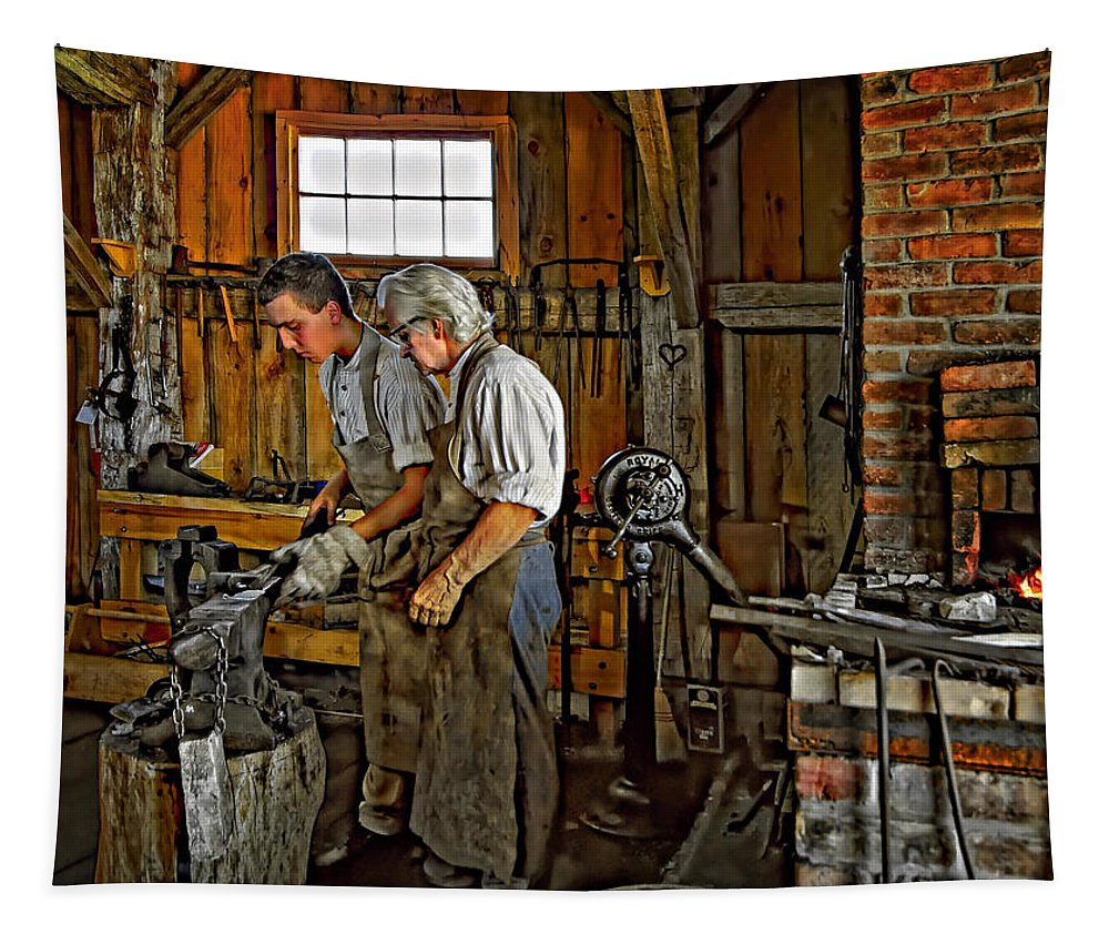 Blacksmith Tapestry featuring the photograph The Lesson by Steve Harrington