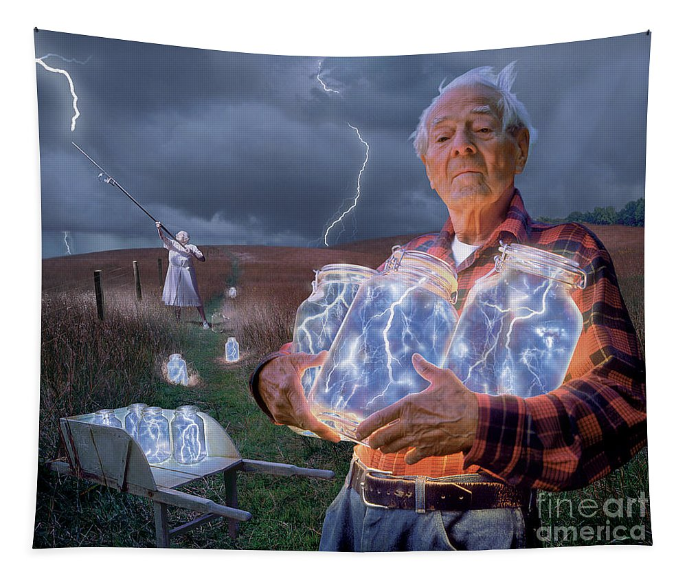 Lightning Tapestry featuring the photograph The Lightning Catchers by Bryan Allen