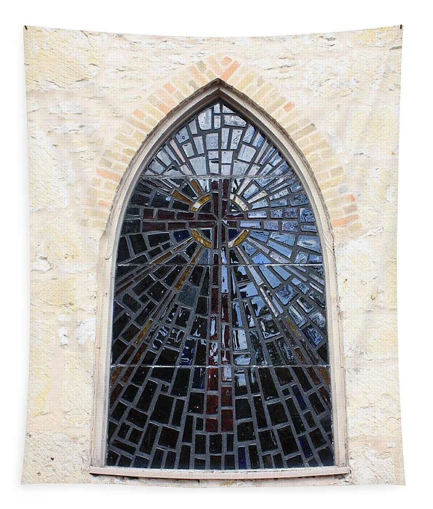 The Little Church In San Antonio Tapestry featuring the photograph The Little Church Window by Carol Groenen