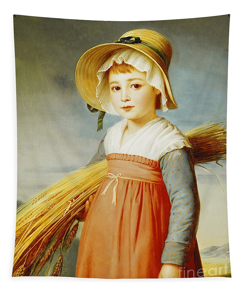 Girl Tapestry featuring the painting The Little Gleaner by Christophe Thomas Degeorge