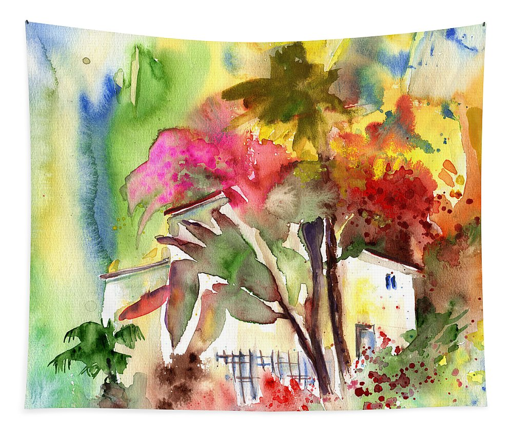 Travel Tapestry featuring the painting The Little House On The Prairie by Miki De Goodaboom