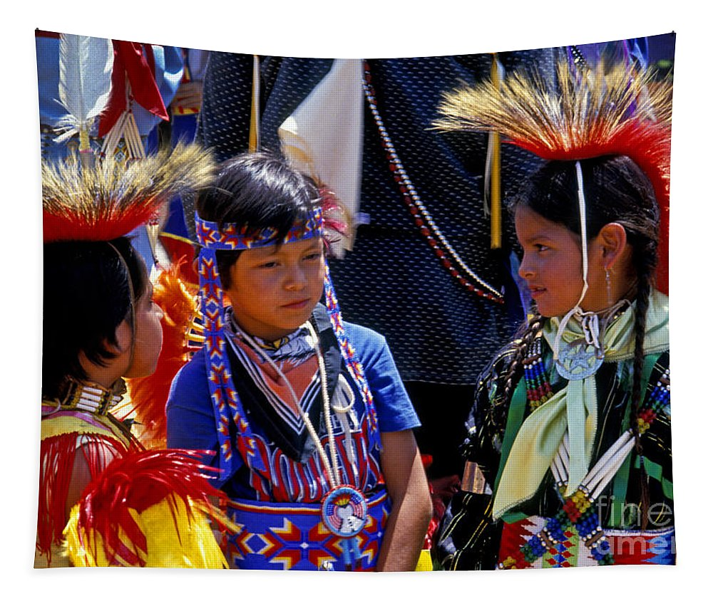 Pow Wow Tapestry featuring the photograph The Little Warriors by Paul W Faust - Impressions of Light