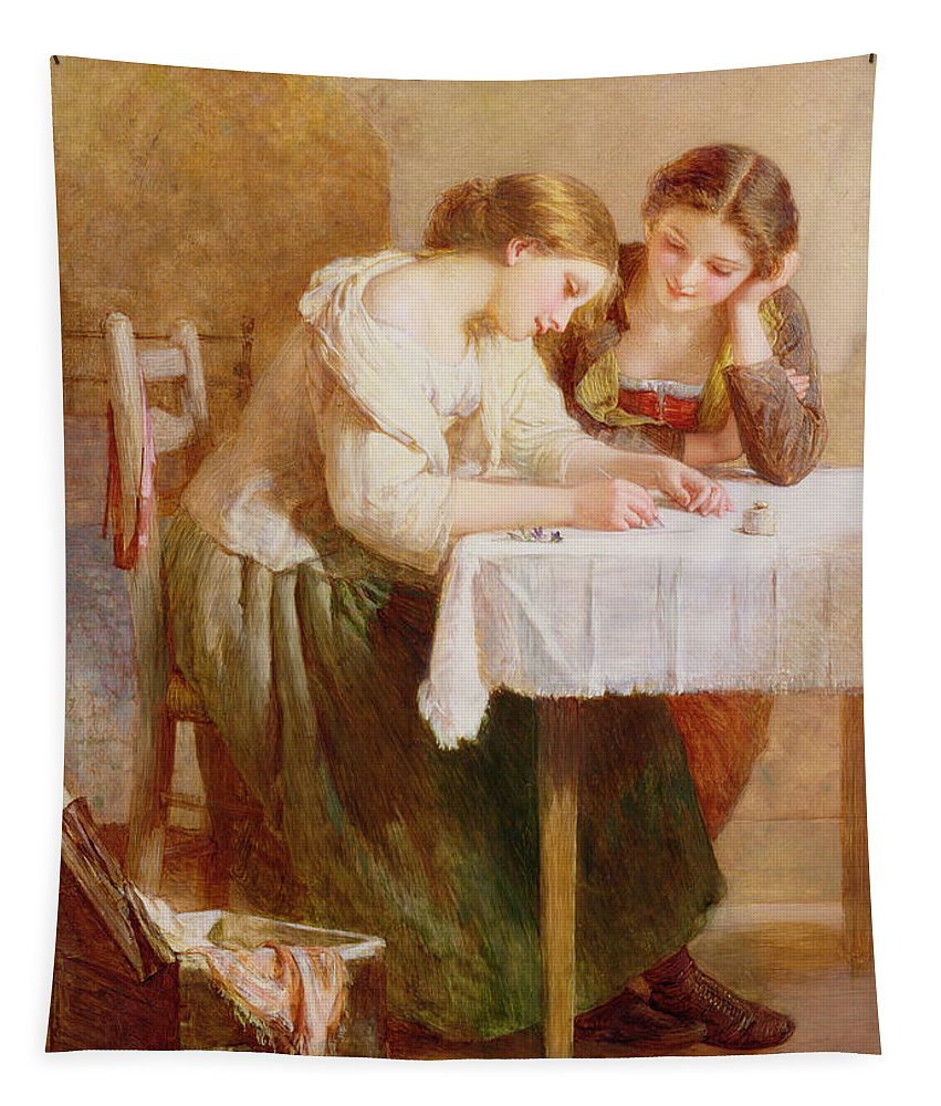 Sisters Tapestry featuring the painting The Love Letter, 1871 by Henry Le Jeune