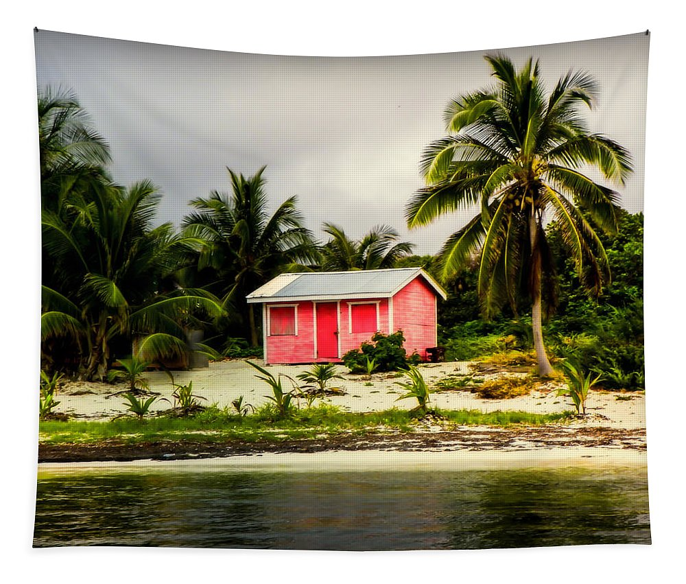 Tropical Landscapes Tapestry featuring the photograph The Love Shack by Karen Wiles