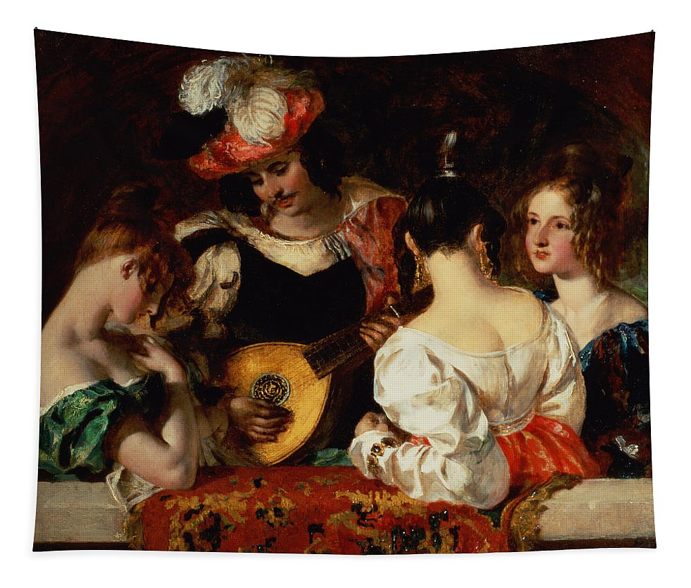 Male Tapestry featuring the painting The Lute Player by William Etty