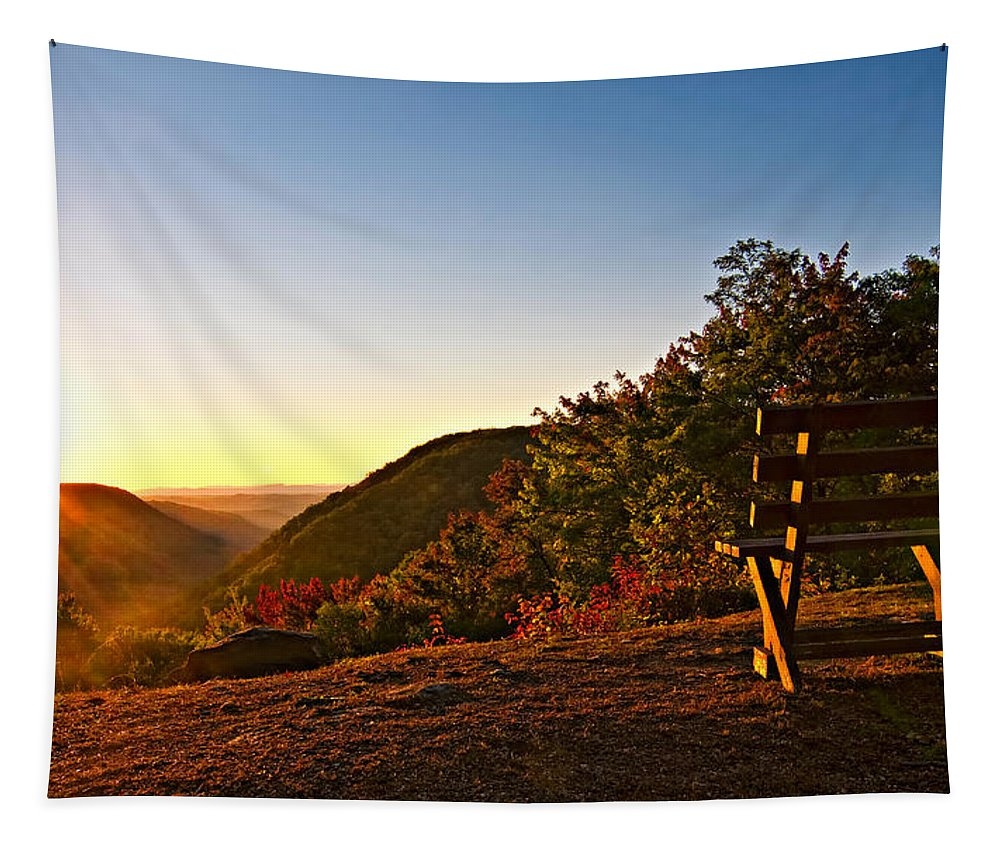 Babcock State Park Tapestry featuring the photograph The Magic Bench by Steve Harrington