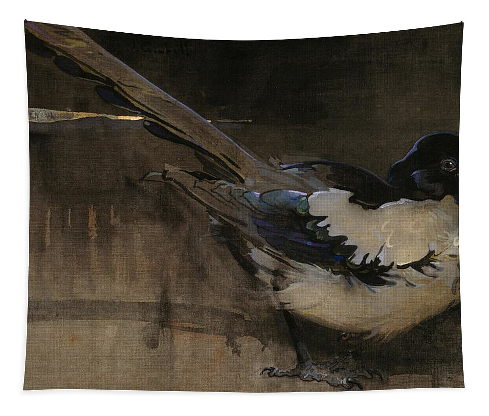 Bird Tapestry featuring the painting The Magpie by Joseph Crawhall