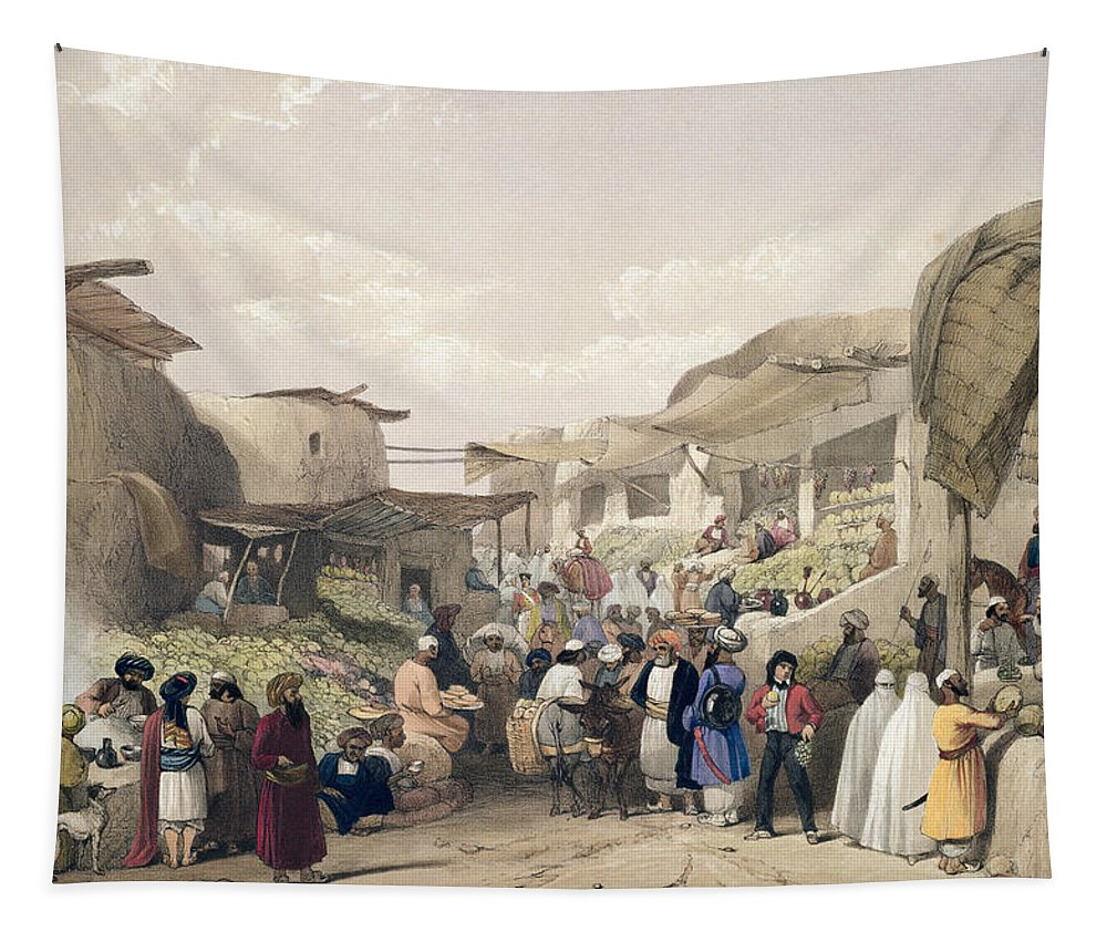 Market Tapestry featuring the drawing The Main Street In The Bazaar by James Atkinson
