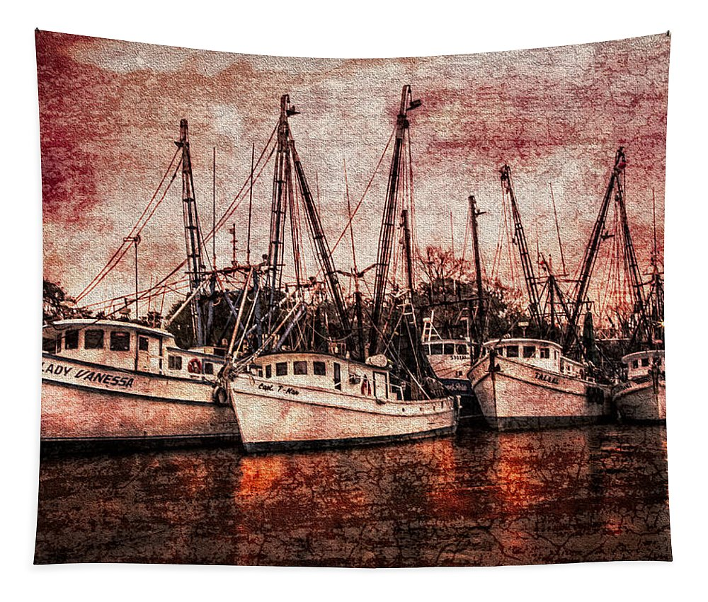 Boats Tapestry featuring the photograph The Marina by Debra and Dave Vanderlaan