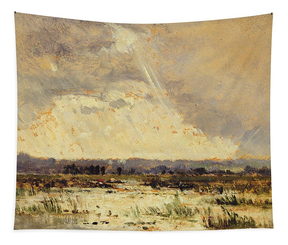 Raining Tapestry featuring the painting The Marsh In The Souterraine, 1842 by Theodore Rousseau