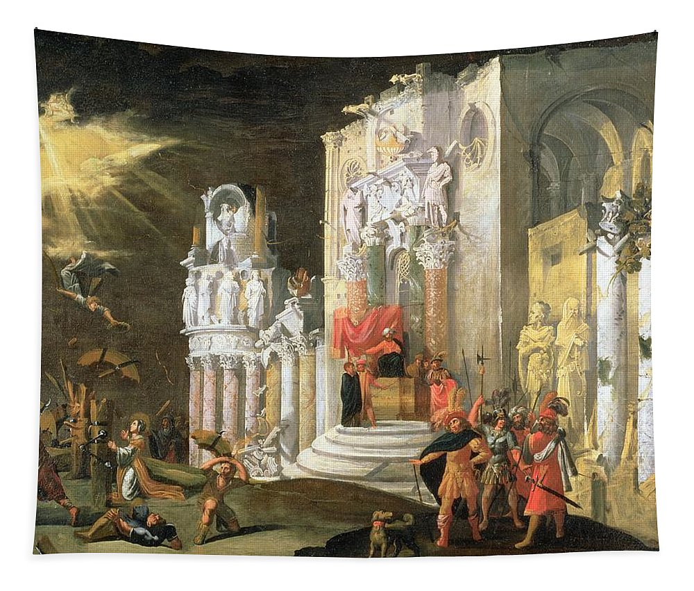 Martyr Tapestry featuring the painting The Martyrdom Of St. Catherine, 17th by Monsu Desiderio