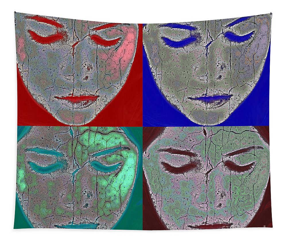 Abstract Tapestry featuring the photograph The Mask by Stelios Kleanthous