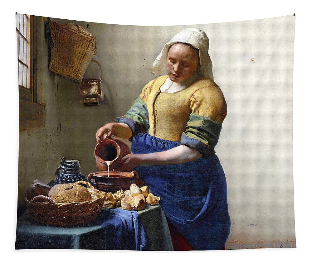Female Portrait; Kitchen; Scullery; Interior; Bread Basket; Table; Loaf; Bonnet; Servant; Pouring; Milk; Maid; Domestic; Rustic; La Laitiere Tapestry featuring the painting The Milkmaid by Jan Vermeer