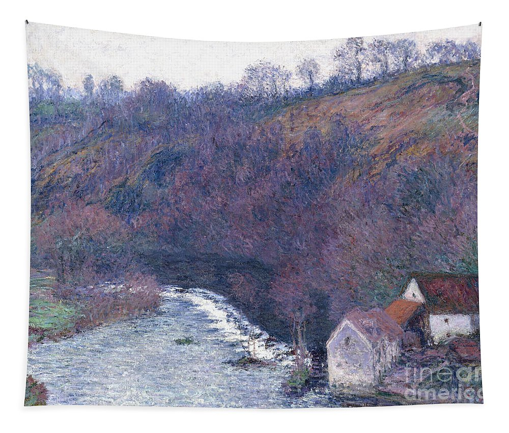 1880s Tapestry featuring the painting The Mill At Vervy by Claude Monet