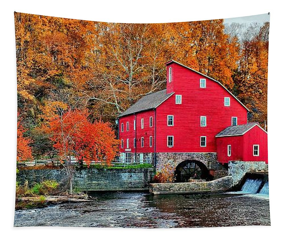 American Tapestry featuring the photograph The Mill In Clinton by Nick Zelinsky