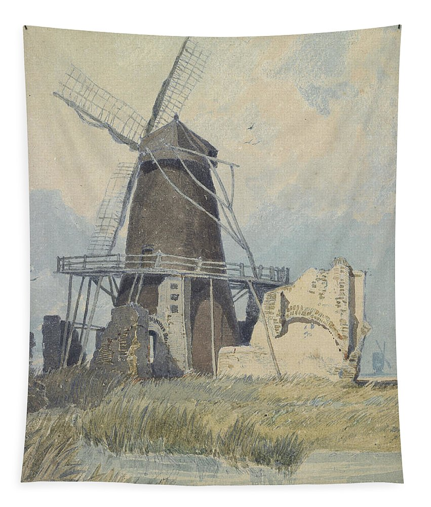 Mill Tapestry featuring the painting The Mill St Benet's Abbey by John Sell Cotman