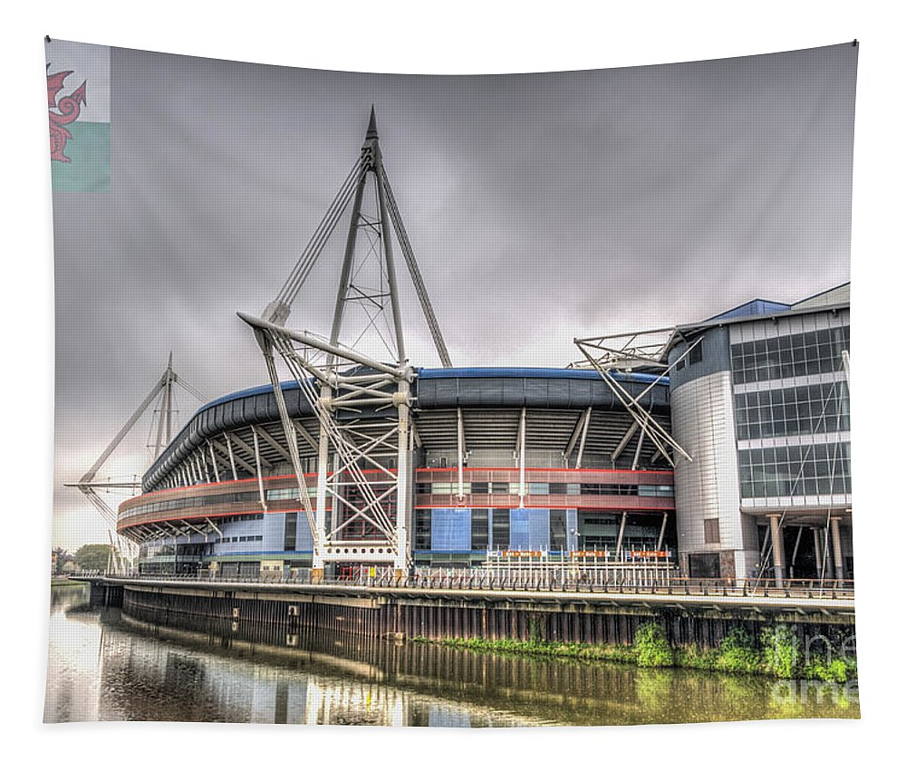 The Millennium Stadium Tapestry featuring the photograph The Millennium Stadium With Flag by Steve Purnell