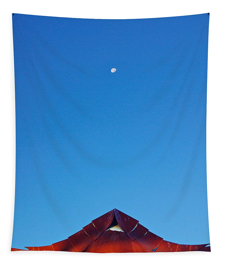 Moon Tapestry featuring the photograph The Moon The Roof And The Sky by Gary Richards