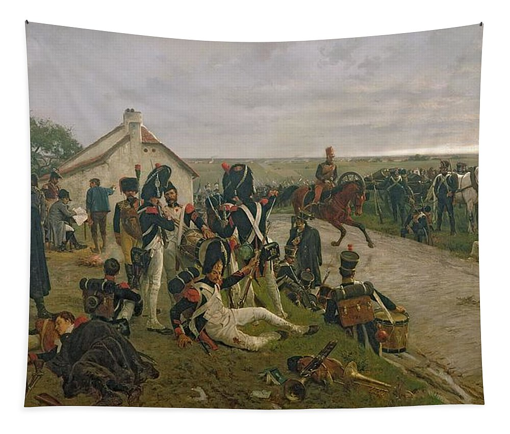 Wounded Tapestry featuring the painting The Morning Of The Battle Of Waterloo by Ernest Crofts