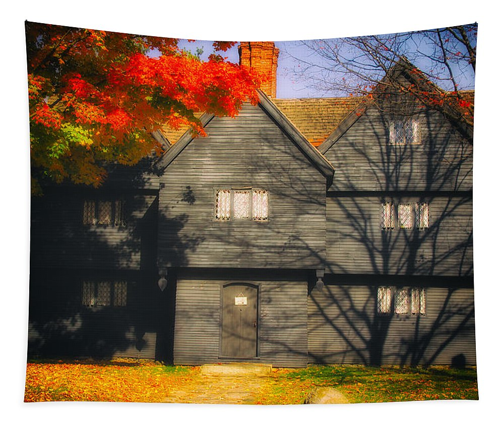 Salem Tapestry featuring the photograph The Mysterious Witch House Of Salem by Jeff Folger