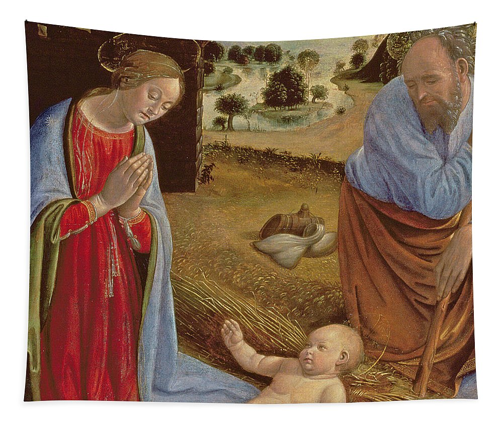 Renaissance Tapestry featuring the painting The Nativity by Cosimo Rosselli