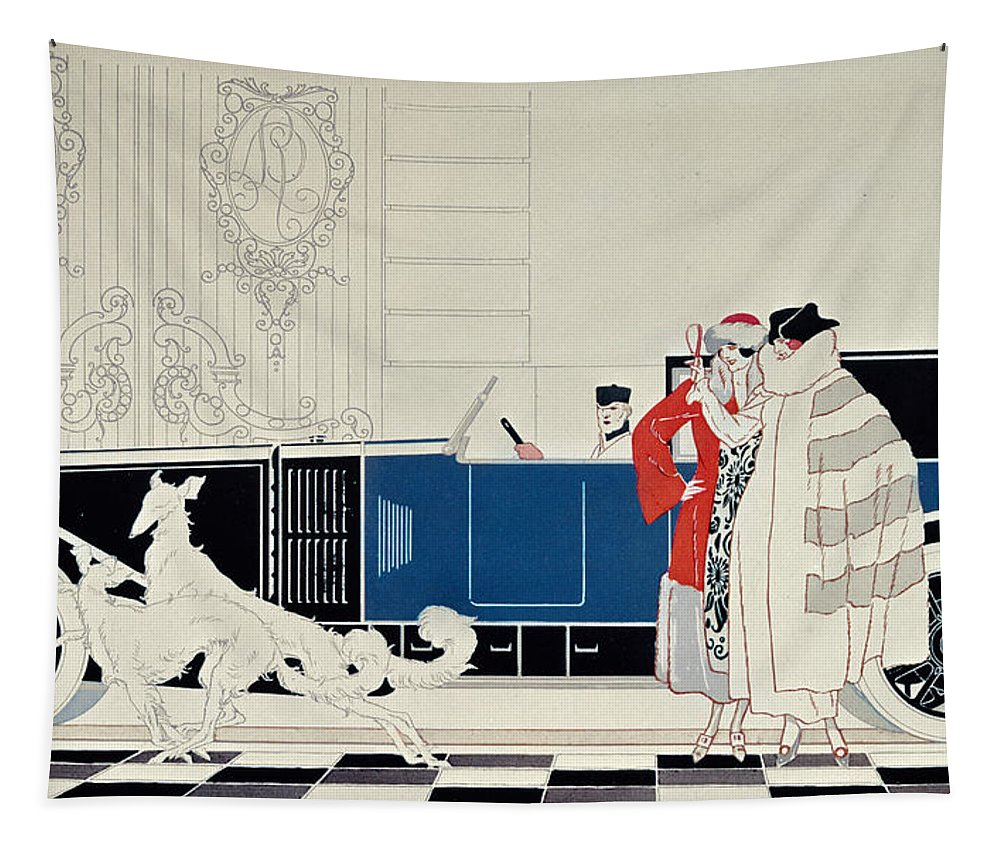 La Nouvelle 6 Cylindres Tapestry featuring the drawing The New 6 Cylinder Renault, C 1920 by Rene Vincent