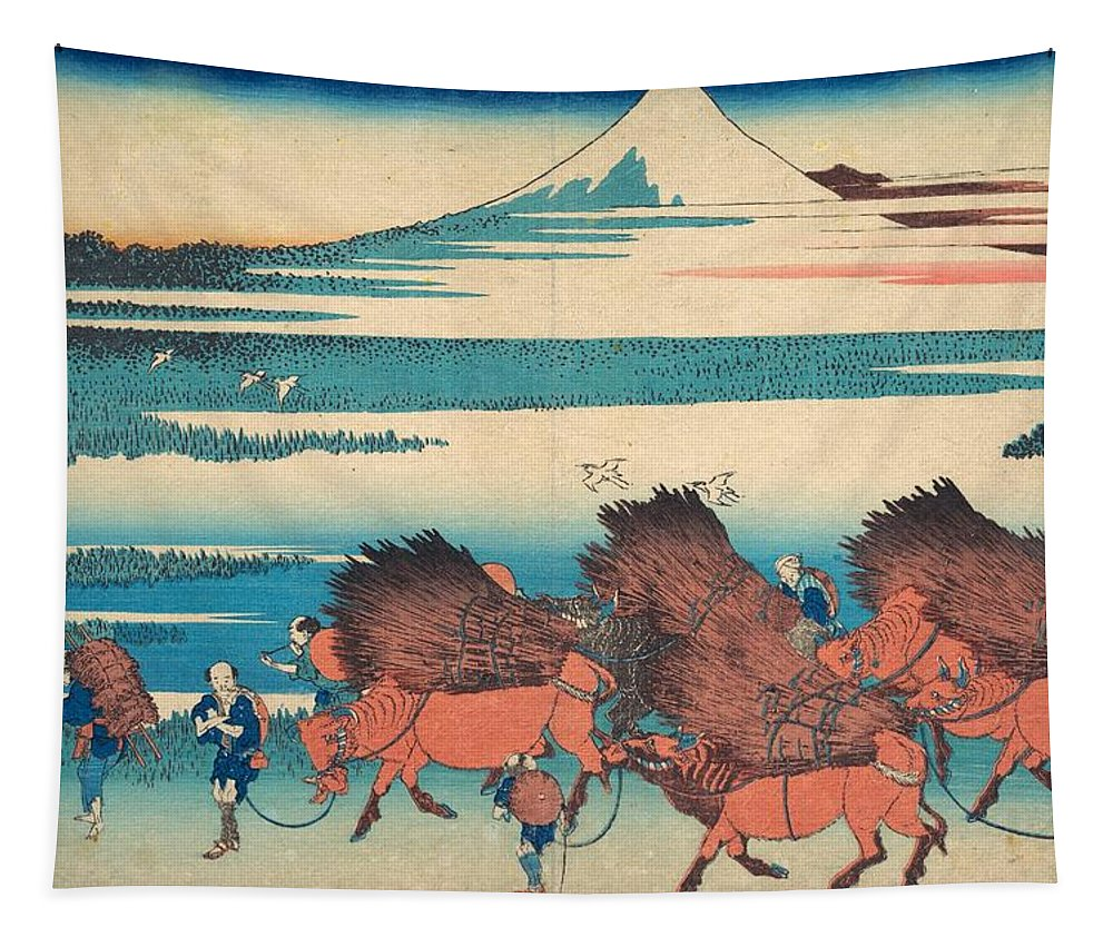 1830-1832 Tapestry featuring the painting The New Fields At Ono In Suruga Province by Katsushika Hokusai