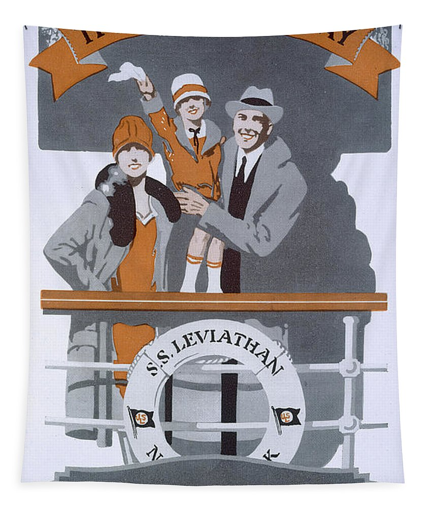 Cruise Tapestry featuring the drawing The New Holiday, Vintage Travel Poster by American School