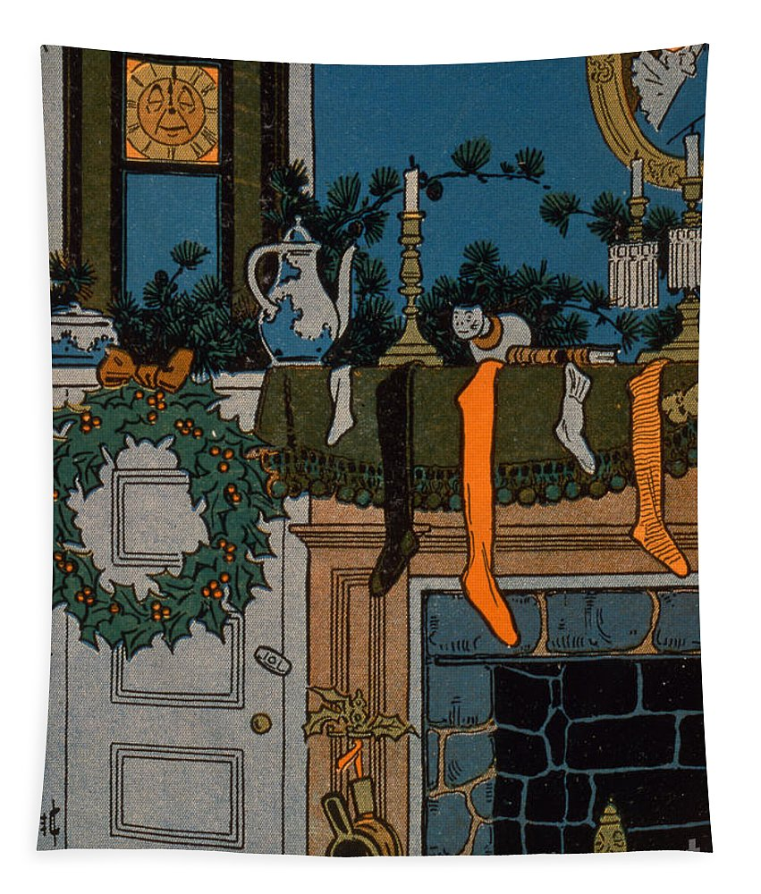 Christmas Tapestry featuring the painting The Night Before Christmas by Denlow