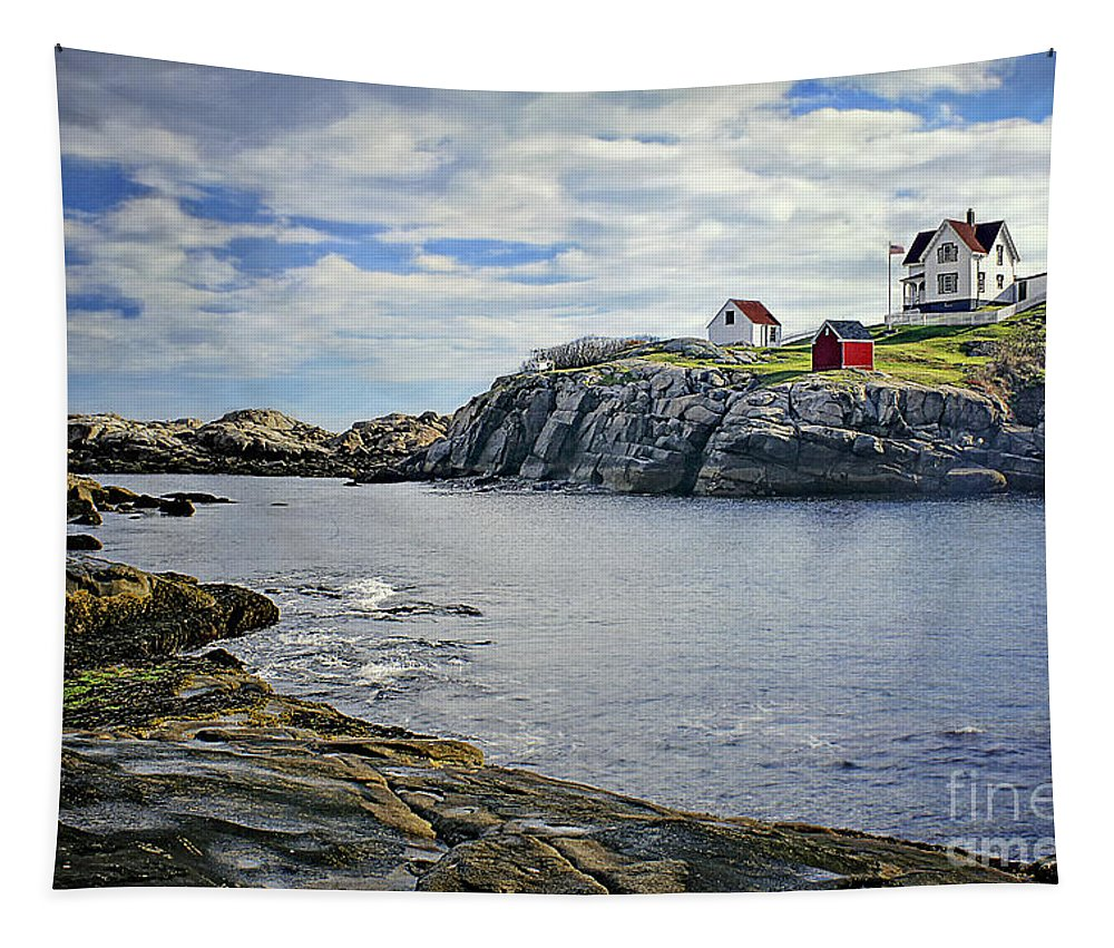 The Nubble Tapestry featuring the photograph The Nubble by Priscilla Burgers