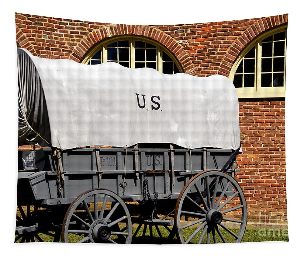 Harpers Ferry Tapestry featuring the photograph The Old Army Wagon by Paul W Faust - Impressions of Light