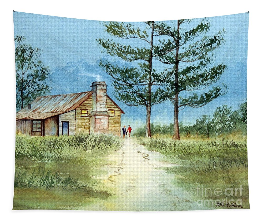 The Old Homestead Tapestry featuring the painting The Old Homestead by Bill Holkham