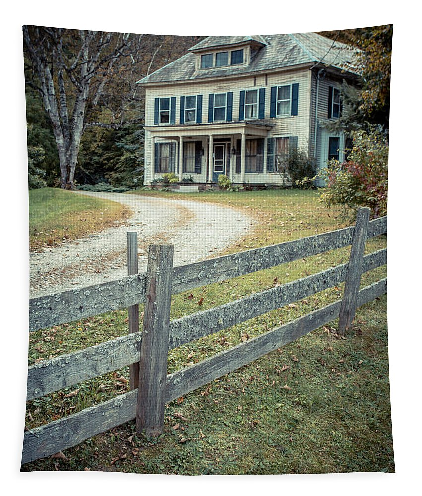 New Hampshire Tapestry featuring the photograph The Old House On The Hill by Edward Fielding