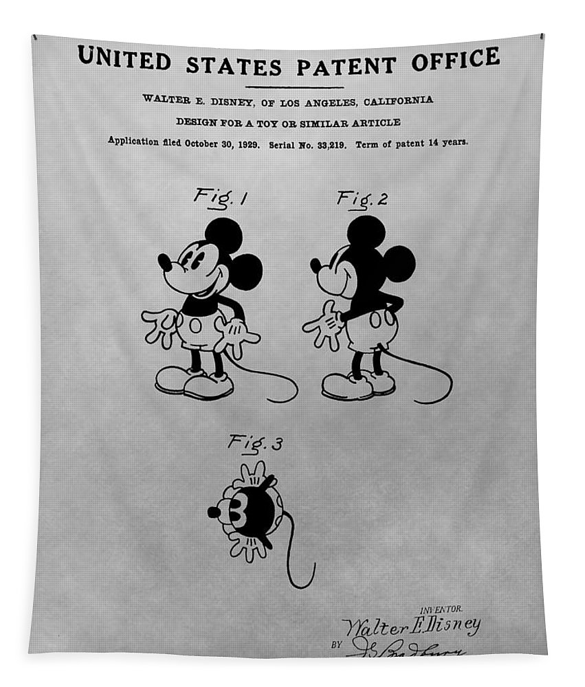 Mickey Mouse Patent Tapestry featuring the drawing The Original Mickey Mouse Patent Design by Dan Sproul