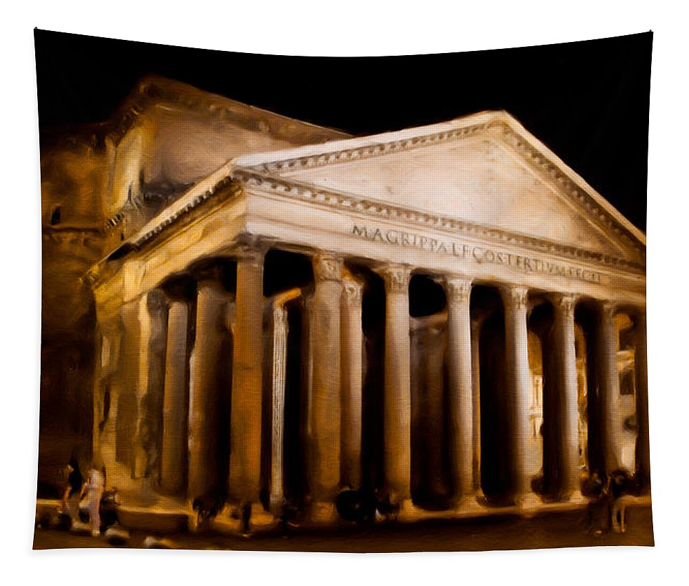 Pantheon Tapestry featuring the photograph The Pantheon At Night - Painting by Weston Westmoreland