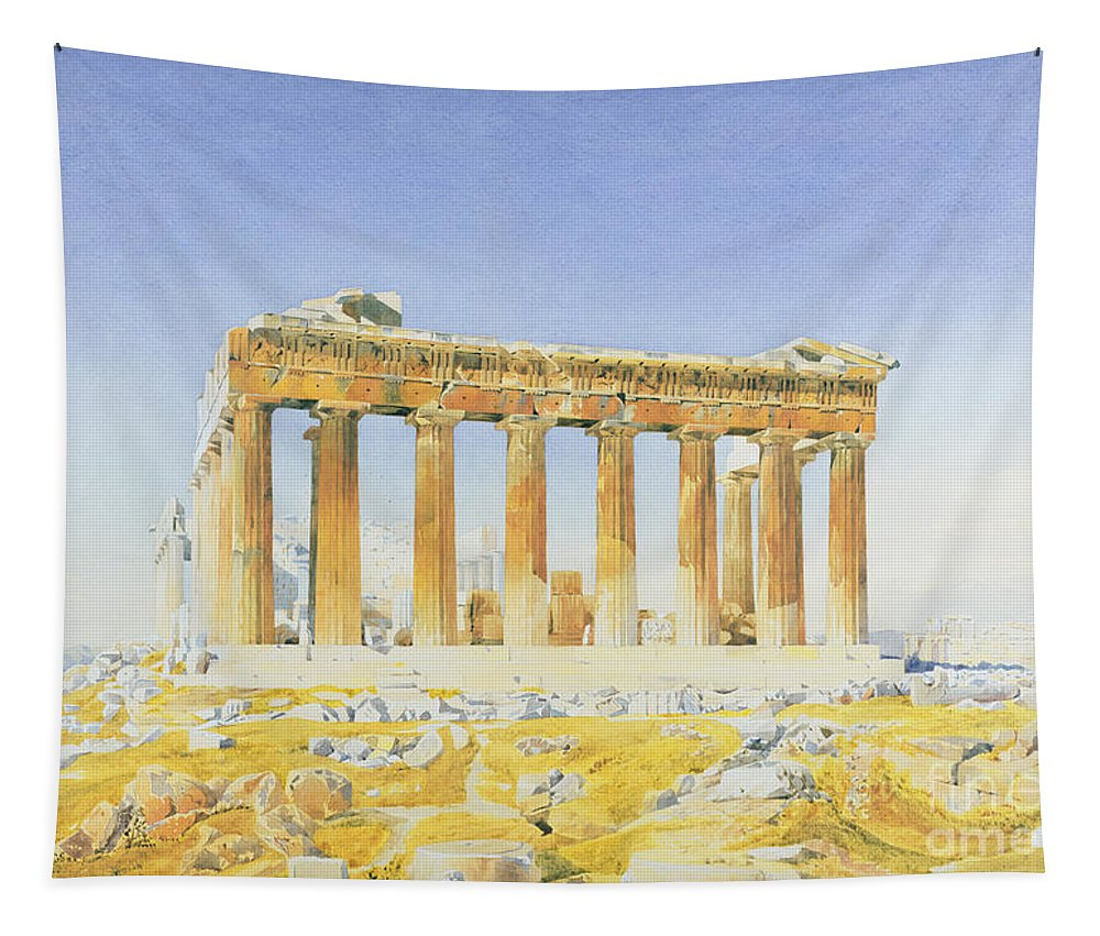 Temple Tapestry featuring the painting The Parthenon by Thomas Hartley Cromek