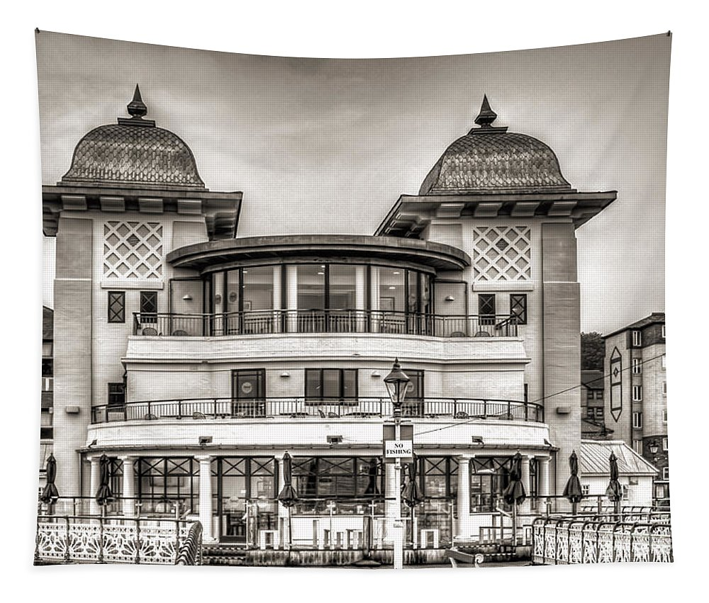 Penarth Pier Pavilion Tapestry featuring the photograph The Pavilion Penarth Pier Mono by Steve Purnell