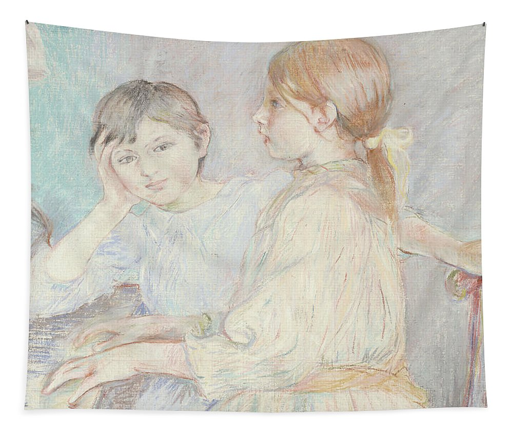 Male; Female; Boy; Girl; Playing; Practice; Practising; Brother; Sister; Ennui; Concentration; Interior; Impressionist; Portrait; Three-quarter Length Tapestry featuring the pastel The Piano by Berthe Morisot