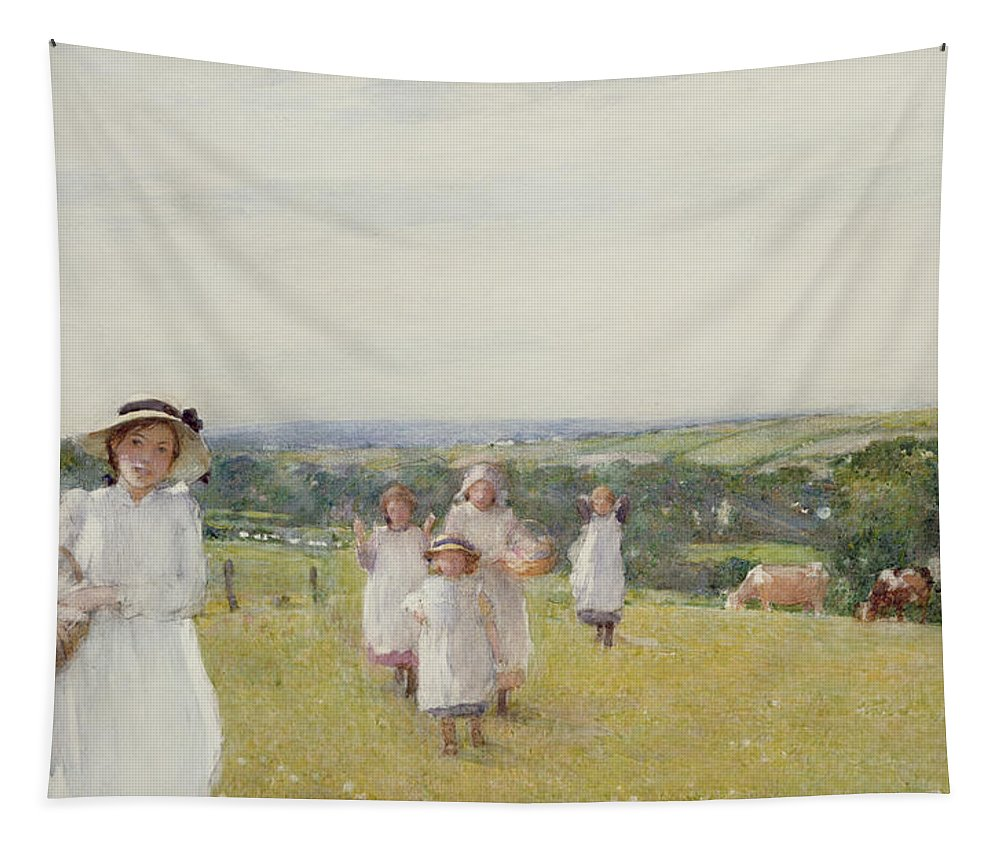 Pasture; Pastoral; Meadows; Girls; Female; Young; Children; Basket; Food; Mother; Family; Landscape; Countryside; Pinafores; Victorian; Cows; Cattle; Child; Rural; Pinafore Dress; Leisure; Edwardian Costume Tapestry featuring the painting The Picnic by Henry Crockett