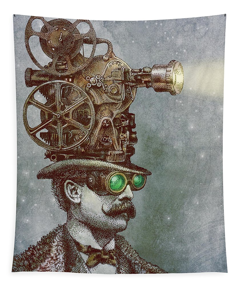 Projector Tapestry featuring the drawing The Projectionist by Eric Fan