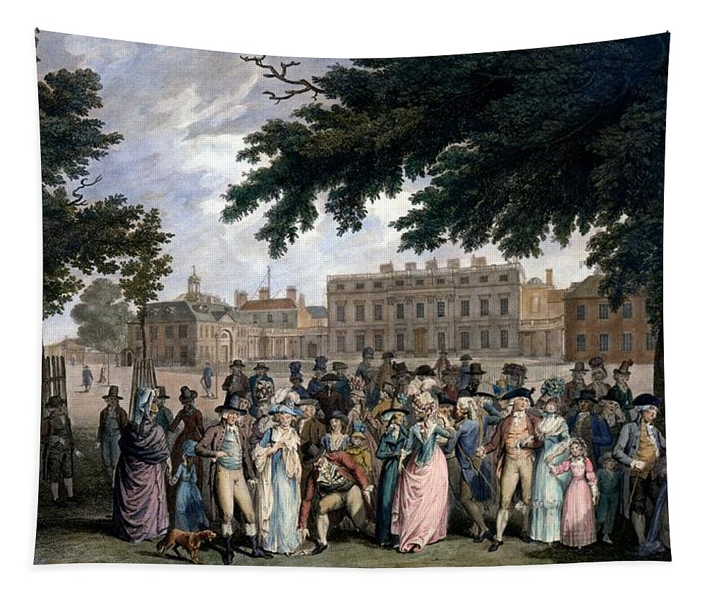 St James Park Tapestry featuring the drawing The Promenade In St James Park, C.1796 by Edward Days