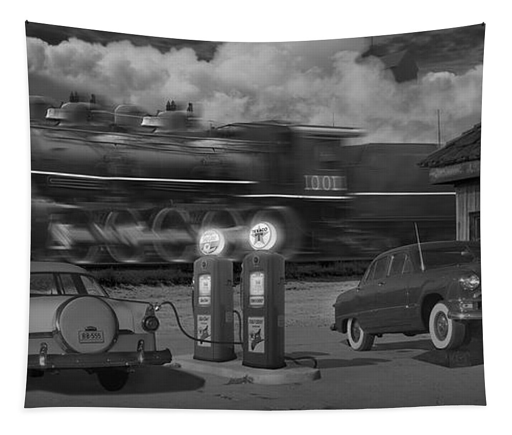 Transportation Tapestry featuring the photograph The Pumps - Panoramic by Mike McGlothlen