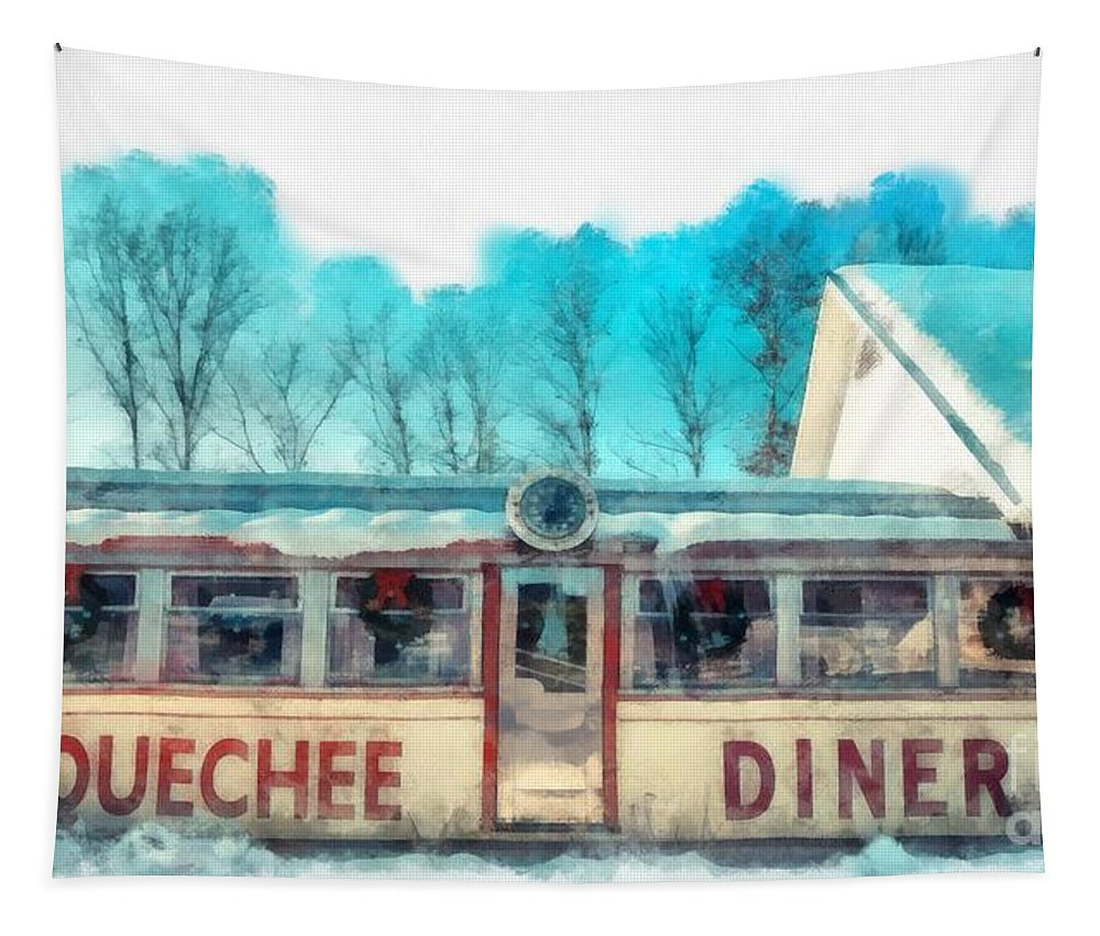 Quechee Tapestry featuring the photograph The Quechee Diner Vermont by Edward Fielding