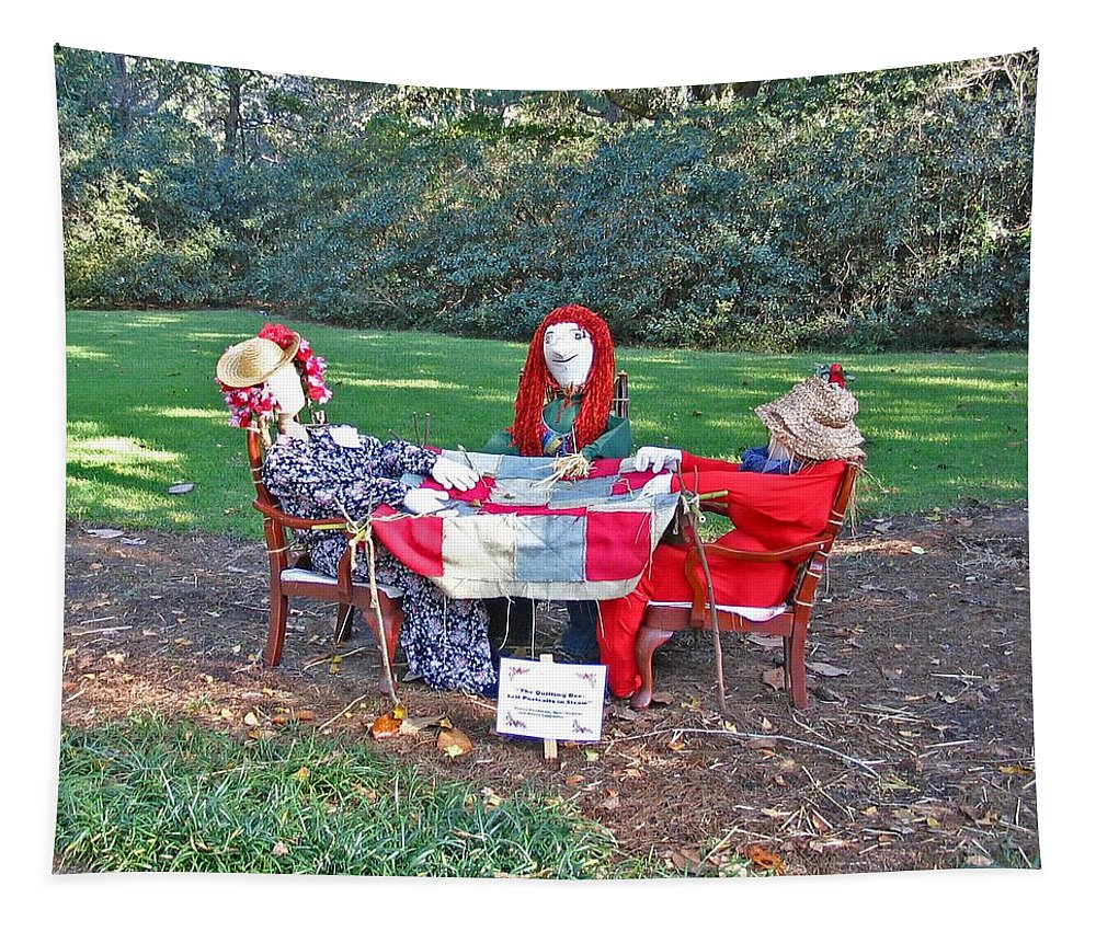Photograph Tapestry featuring the photograph The Quilting Bee Scarecrows by Marian Bell