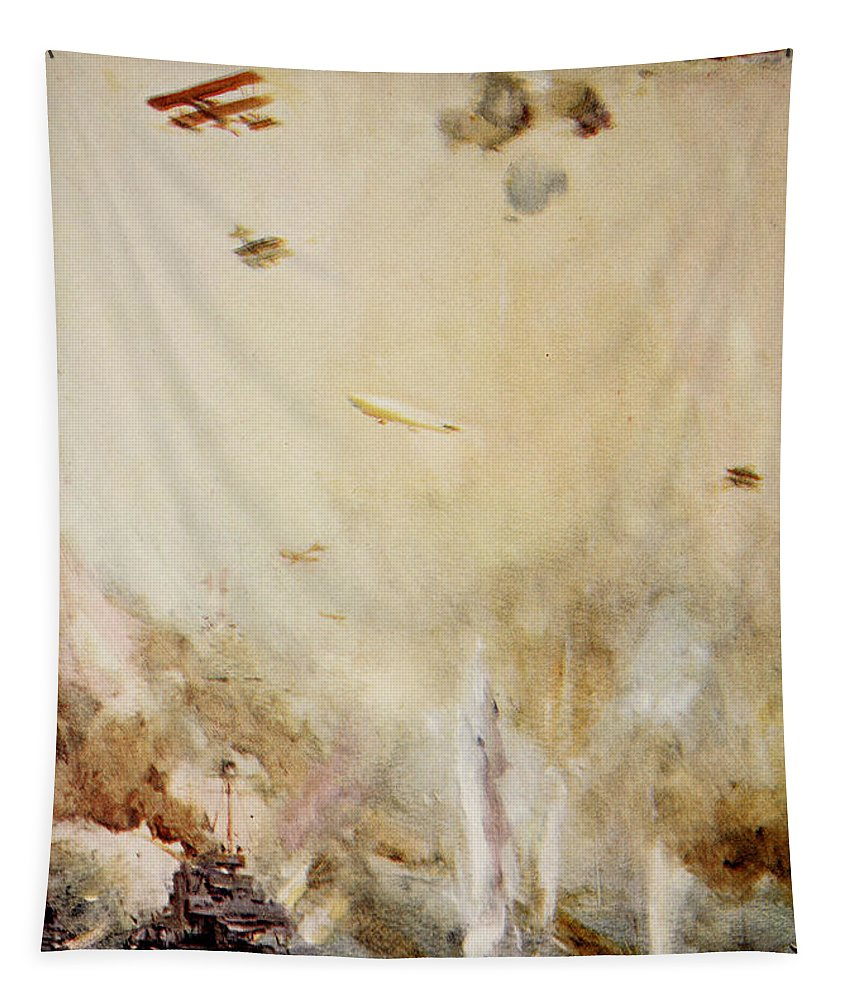 World Tapestry featuring the painting The Raid On Cuxhaven by Cyrus Cuneo