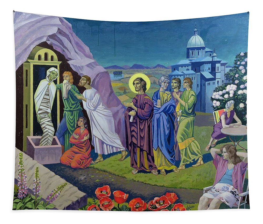 Temple Tapestry featuring the painting The Raising Of Lazarus, 1987 by Osmund Caine